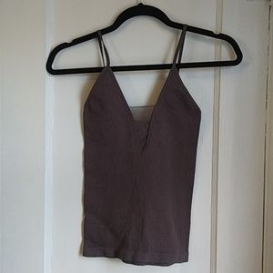 New! Free People Grey Ribbed Tank Top